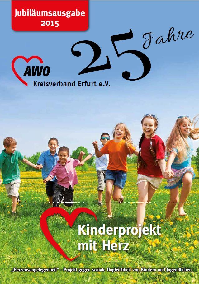 Deckblatt der Jubiläumsbroschüre mit rennenden Kindern